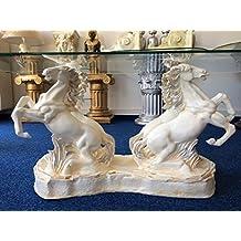 Pferde Couchtisch Tisch Wohnzimmertisch Pferd Figurentisch Silber Crem