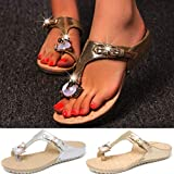 Lailailaily Flat Bling?Diamond Ankle?Toe?Beach?Shoes?Women's Fashion Slippers Sandals
