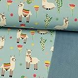Softshell Stoff Happy Alpakas hellblau - Preis Gilt für