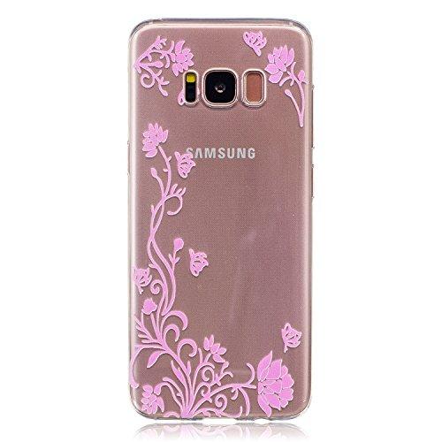 Galaxy S8 Coque, Samsung S8 Housse, Samsung Galaxy S8 Etui,BONROY® Motif monochrome classique Ultra-Mince Thin Soft Silicone Etui de Protection pour Souple Gel TPU Bumper Poussiere Resistance Anti-Scr Vigne fleur rose