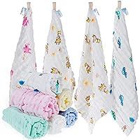 Lictin 10 pezzi Bambini Asciugamani Mussola - Asciugamano Viso Infantile 100% Cotone Chiffon Fumetto 30 * 30cm Baby Accessorio Fazzoletto per Bambini