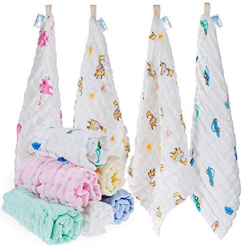 Lictin 10pcs Baby Musselin Waschlappen Baby-Feuchttücher 100% Baumwolle Baby Handtuch Musselin Waschlappen weiche Handtuch für Kinder, 30 * 30 CM -
