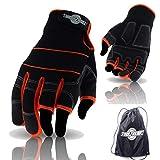 toolfreak Work & Sicherheit Handschuhe mit Tasche (Größe Medium–3Finger Handschuhe + Tasche)