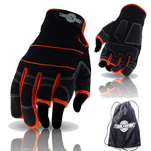 ToolFreak Arbeitshandschuhe |3 Finger Design Bietet Ultimative Kontrolle |Gepolsterte Handfläche Absorbiert Vibrationen |Hilft beim Verhindern von Schnittwunden & Kratzern +Bonus -