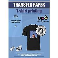 PPD A4 Carta Trasferibile Termoadesiva Per Stampanti A Getto D'Inchiostro Inkjet - T-Shirt E Tessuti Di Colore Scuro x 5 Fogli - PPD-4-5