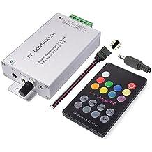 LitaElek 18 botón Control remoto de la tira de la tira del RGB LED Controlador de la música de la tira del LED 12V-24V 12A Regulador LED Strip Controller de la cinta del LED para SMD 5050 3528 2835 RGB LED tira las luces