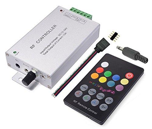 LitaElek 18 boutons capteur de musique Contrôleur LED RGB Avec télécommande RF Boîtier en aluminium DC 12V-24V 12A Pour SMD 5050 3528 2835 RGB feux à LED Strip Ruban Bande LED Dc Conduit Box