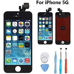 Rarlon Écran Tactile Screen de LCD Remplacement pour iPhone 5 (Noir) Tactile Reparation Screen Complet avec Full Assembly Repair