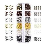 JZK® 140 pz chiusure moschettone + 990 pz anellini aperti, set di moschettoni minuterie per bigiotteria, gioielli artigianali, creazione di braccialetti e collane