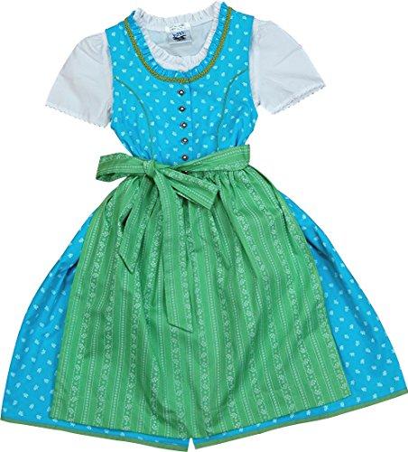 3. Sommerliches Kinderdirndl MAREN Türkis Apfelgrün 3tlg. Komplett Set Von  Isar Trachten, Größen:128;Farbe:blau   Grün