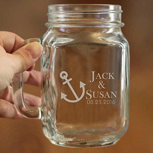 Persönlichen Geschenk für Hochzeit Mason Jar Nautical Becher mit Namen und Datum Paar Personalisierte Glas für Jahrestag Geschenk Hochzeit Geschenk Geschenk für Paar
