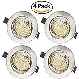 Faretti LED Incasso GU10 5W Luci da Incasso Cartongesso Plafoniere LED Soffitto Orientabile con Porti Luce Bianco Caldo 3000K,400LM,AC 220-240V (4 Confezione)