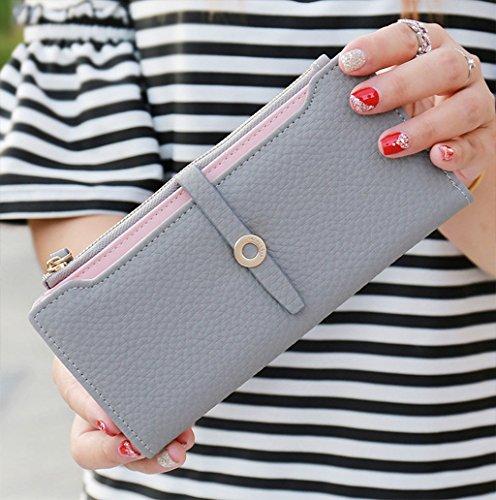 Dairyshop Borsa della borsa della borsa della signora del raccoglitore lungo della signora femminile delle donne di modo (rosa) azzurro