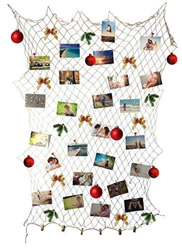 endlosschenken Fischernetz Deko Natur mit 30 Klammern + 10 Herzklammern DIY Netz Wanddekoration Bilderrahmen Fotonetz Bildergalerie (2m x 1m)