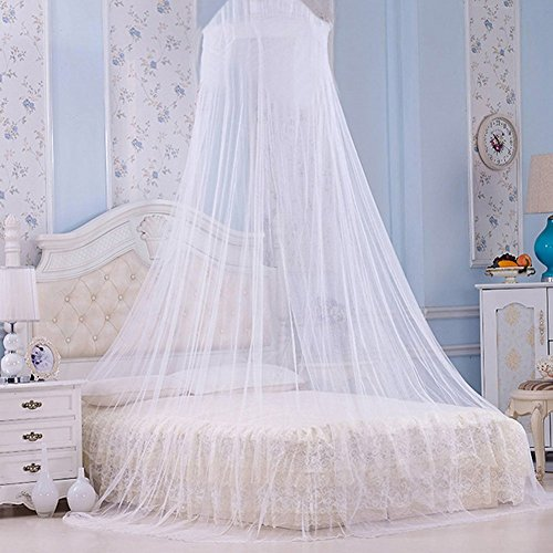 White Mosquito Net Bed Canopy With Silver Sequined Netting Curtain Double Bed Dome Insect Protection Coverage Outdoor…