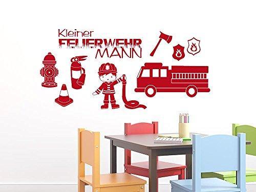 GRAZDesign Wandgestaltung Wandaufkleber Jugendzimmer Feuerwehrmann Set - Spielzimmer Deko Feuerwehrauto - Wandtattoo Feuerwehr Set / 150x57cm / 770122_57_031 - Spielzimmer-set