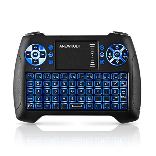 Mini Tastatur Touchpad, Smart TV Tastatur Fernbedienung, Wireless Backlit QWERTZ Tastatur Layout, Plug and Play, Mini Tastatur Beleuchtet für Smart-TV, HTPC, IPTV, Android TV-Box, XBOX360, PS3, PC