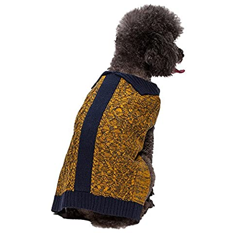 Blueberry Pet Cable Knit Cardigan Style Dog Jumper in Melange Gray and Goldenrod, Back Length 16