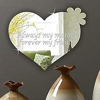 personalisedl mamma Keepsake Placca cuore regalo per festa della mamma presente–Cuore Con Fiore Acrilico Specchio, Acrilico, 50