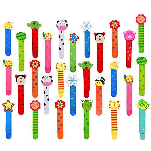 Gudotra 30pcs Marcapáginas de Madera de Dibujos Animados de Doble Uso para Estudiantes Oficina Papelería Regalo de Cumpleanos para Niños