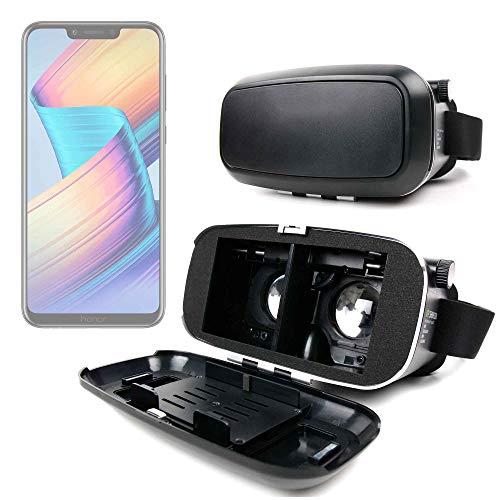 DURAGADGET Gafas de Realidad Virtual VR Ajustables en Color Negro para Smarphones Huawei Honor Play, Huawei Mate 20 Lite + Gamuza limpiadora.
