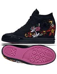 dc660e8aca6 Converse x PatBo Womens Chuck Taylor All Star Lux Mid Black Black Bright  Pink