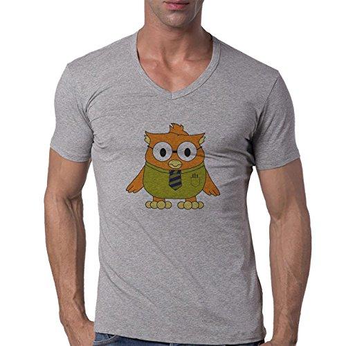 Owl Bird Night Midnighter Shirt Herren V-Neck T-Shirt Grau