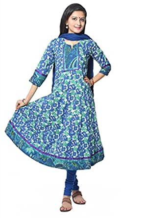 Blue Flower Print cotton Anarkali Kurti