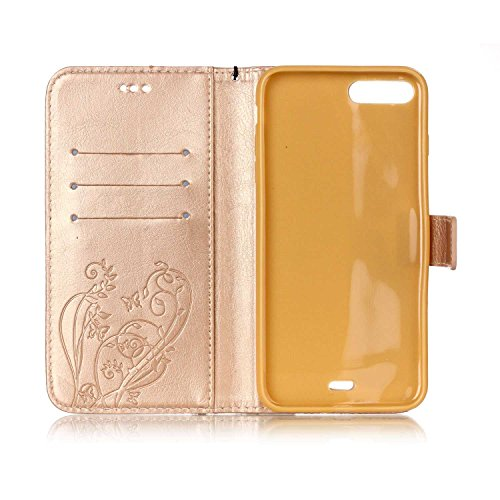 iPhone Case Cover Single Side Embossed Blumen Schmetterling Fall Deckung Wallet Stand Case mit Handschlaufe für IPhone 7 Plus 5,5 Zoll ( Color : Brown , Size : Iphone7 Plus ) Gold