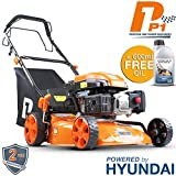 Hyundai Engine P1PE P4600SP 139cc Self Propelled Petrol Lawnmowers, 7 Position Central Height Adjustment, 18 Inch 46 Centimetre Cutting Width, Steel Deck Lawn Mower, Included Engine Oil, Orange