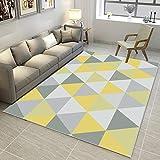 MX kingdom Milan Ochre Mustard - Alfombra para salón, diseño Tradicional de triángulos, Color Amarillo y Gris y Beige, diseño geométrico Moderno, Suave y cómodo, 80 * 160