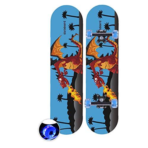 rd Komplett Longboard Double Kick Skateboard Cruiser 8 Lagen Ahorn Deck für Extremsport und Outdoor, 5,60cm ()