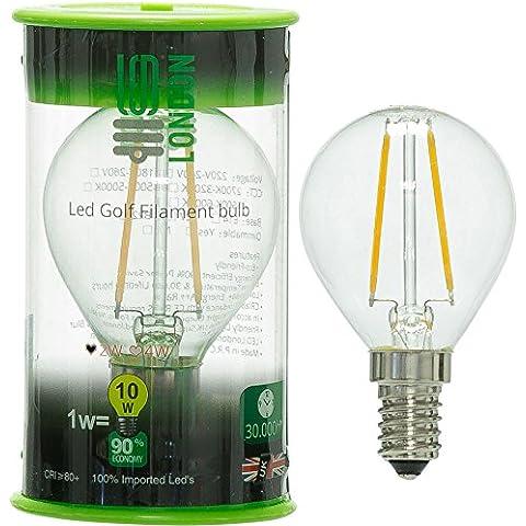 LED.London® 2W Lampadina filamento Led Globo E14Edison SES Golf (Confezione da 10) AC 230V 50Hz, 2700K 220lm 120W Combinato di ricambio - Golf Ball Dimensioni