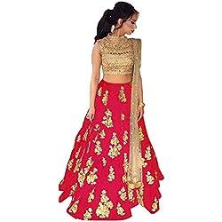 Arawins Women's Taffeta Silk Lehenga Choli (Red,Free Size, Semi-Stitched)