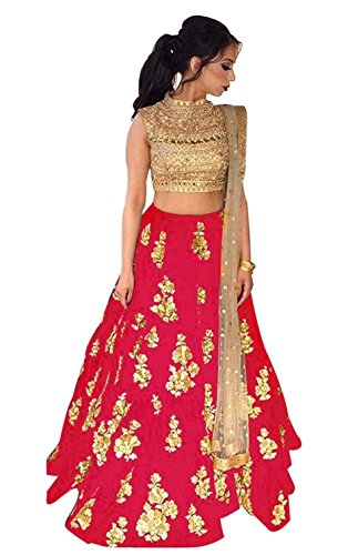 Arawins Women's Party Wear Navratri Special Bollywood Red Taffeta Velvet Heavy Bridal...