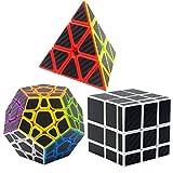 Puzzle Cubes Megaminx + Pyraminx + Mirror 3 Pack Coolzon Cubo Magico con Pegatina de Fibra de Carbono Velocidad