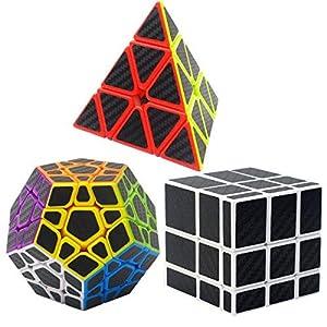 Puzzle Cubes 3 Pezzi Megaminx + Pyraminx + Mirror Coolzon® Magico Cubo con Adesivo in Fibra di Carbonio Nuovo Velocità