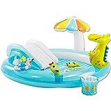 Planschbecken Set Krokodil - Kinderpool mit Rutsche, Sonnendach und Dusche - Babypool