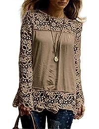 Vectry Blusas Encaje Blusas Etnicas Mujer Blusas Encaje Mujer Blusa Espalda Descubierta Blusa Escote Espalda Blusa Escote Blusas Ajustadas Mujer Blusa con Encaje
