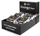 Crown Sport Nutrition 18 x Energy Bar (60g), Barritas de avena energéticas sin cobertura con extra de proteína para deportistas, Sabor Doble Chocolate