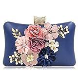 Milisente Damen Clutch Handtasche Blumen Abendtasche Clutch Bag (Blau)