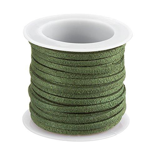3mm Faux Wildleder Flache Kordel Spitze olive grün–auf 5m Spule (Cord Spitze Wildleder)