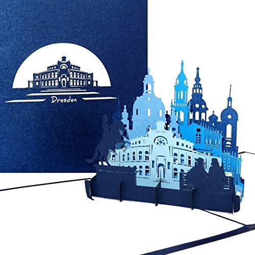 """Pop Up Karte \""""Dresden - Panorama mit Oper & Frauenkirche\"""" - 3D Grußkarte als Souvenir, Geschenk, Geburtstagskarte, Einladungskarte & Gutschein zum Städtetrip"""