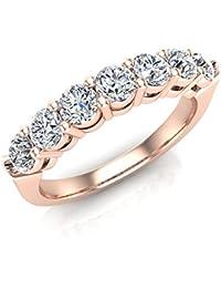 7 Stone Wedding Band Ring Stackable 14K Gold Finish CZ 925 Engagement Bridal
