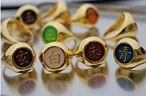 Naruto Akatsuki Full Version Golden Ring Set & Necklace Chain