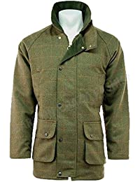 MENS DERBY TWEED BREATHABLE HUNTING SHOOTING WALKING FARMING COUNTRYSIDE JACKET COAT WATERPROOF BRANDED WOOL COUNTRY COUNTRY GREEN SIZE XL