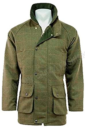MENS DERBY TWEED BREATHABLE HUNTING SHOOTING WALKING FARMING COUNTRYSIDE JACKET COAT WATERPROOF BRANDED WOOL COUNTRY COUNTRY GREEN SIZE SMALL