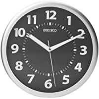 "Seiko 10"" Black Wall Clock with Luminous Glow-In-The-Dark Hands"