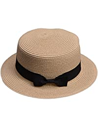 014b791c97bf7 Lawliet Lady Boater Sun Caps Ribbon Round Flat Top Straw Beach Hat Summer  Hats for Women