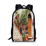 School Bags Tuscan,Begonia Blossoms in Box Window Wooden Shutters Brick Wall Romagna...
